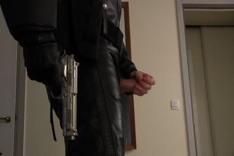 Leather Cop: Full Leather Play, Jerk, & sperm