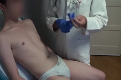 skinny Japanese man Examined, bald And Deflowered On The Doctors Examination Table. gigantic sperm flow.