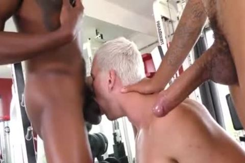 nasty White boy Tagged By Two darksome dicks