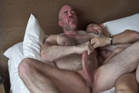 Tattooed hairy Daddy Rides Muscle Stepson In Hotel Suite