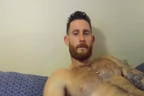 handsome And brawny guy Caressing His Hard knob