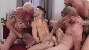 IconMale: Shaved Ryan Carter plus Drew Sebastian bareback orgy