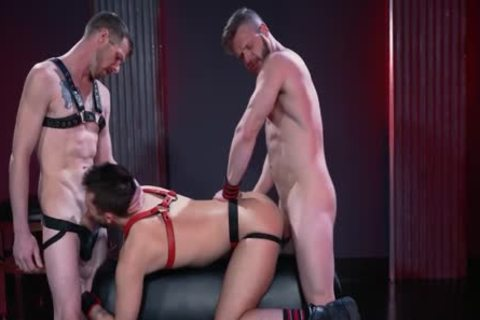 Mysterious Leather 3some Deepthroat, poke And Fist