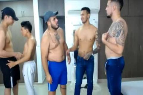 group Of Latinos Touching And Caressing Each Other's dong In Live