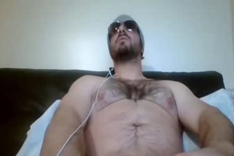 bushy man With A nice dick Stroking It In Live
